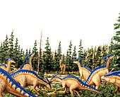 Parasaurolophus dinosaurs,illustration