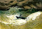 Cyclone at sea,19th Century illustration