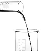 Mercury pouring from a measuring cylinder