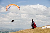 Paraponters flying from Pendle Hill,UK