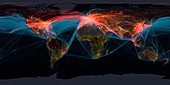Global transport networks on night map