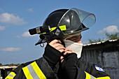 Portrait of a fire fighte