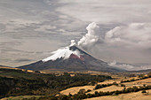 Ash plume rising from Cotopaxi volcano