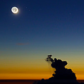New Moon and earthshine at sunset