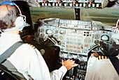 Concorde pilots in cockpit,1975
