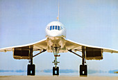 Concorde on airport runway,1975