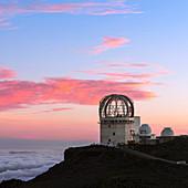 Sunset over Haleakala observatories