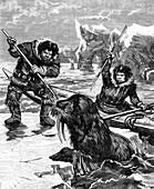 19th century Eskimos hunting