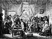 Mourning feast,Chile,illustration