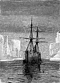 North Pole in spring,19th C illustration