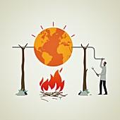 Global warming,conceptual illustration
