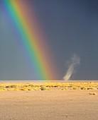 Rainbow and dust devil,Atacama,Chile