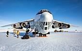 Aircraft at runway in Antarctica