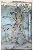 1532 A medieval diver bladder aqualung