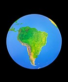 Whole earth centred on South America