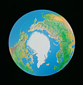 Whole earth centred on the north pole