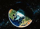 Artwork of the Earth centred on the North Pole