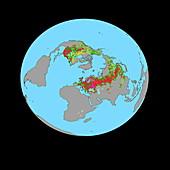 Northerly vegetation map