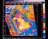 Infrared map of the Arabian peninsula