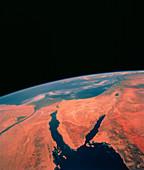 Sinai peninsula from Space Shuttle