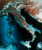 Infrared satellite image of Italy