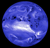Colour satellite image of atmospheric water vapour