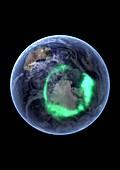 Aurora over Antarctica,satellite image