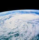 Cloud swirl from tropical storm Javier,STS-46
