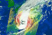 NSCAT image showing typhoon Violet near Japan