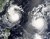 Typhoon Saomai and tropical storm Bopha