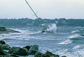 Hurricane Bob lashing boats in a harbour