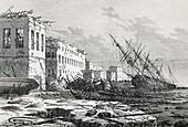 Cyclone damage on Zanzibar,1872