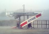 Petrol station during hurricane Isabel