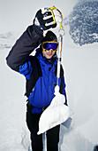 Measuring snow density,Swedish Lapland