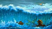 Illustration of a tsunami near a volcano