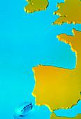 Computer simulation of a tsunami near Portugal