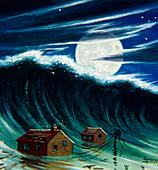 Artwork of a tsunami destroying buildings