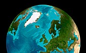 North Atlantic and Arctic,seafloor map