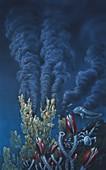 Artwork of a black smoker hydrothermal vent