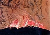 Artwork of Santorini volcano erupting,Greece