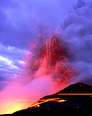 Explosions as a lava flow reaches the coast,Hawaii