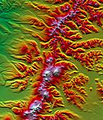 Sredinnyy Khrebet volcanoes,radar image