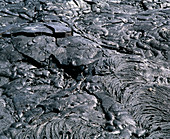 Pahoehoe volcanic lava folds on Hawaii