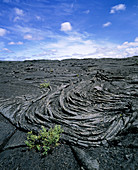 Cooled pahoehoe lava from a volcano