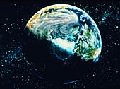 Artwork of atmospheric debris after meteorite hit