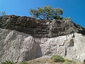Santorini volcanic rock strata,Greece