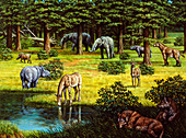 Prehistoric wildlife of the Miocene era