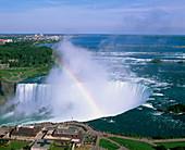 Aerial view of the Niagara Falls,Canada/US border