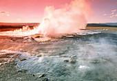 Steam rising from a geyser