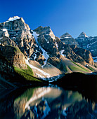 Mountains reflected in Moraine Lake,Canada